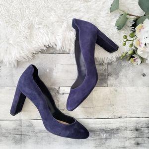 Nine West Journa blue suede block heels 8M
